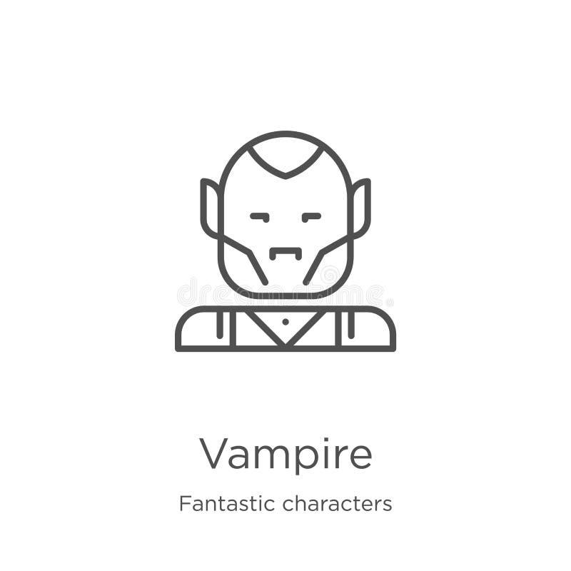 吸血鬼从意想不到的字符收藏的象传染媒介 稀薄的线吸血鬼概述象传染媒介例证 概述,稀薄的线 皇族释放例证