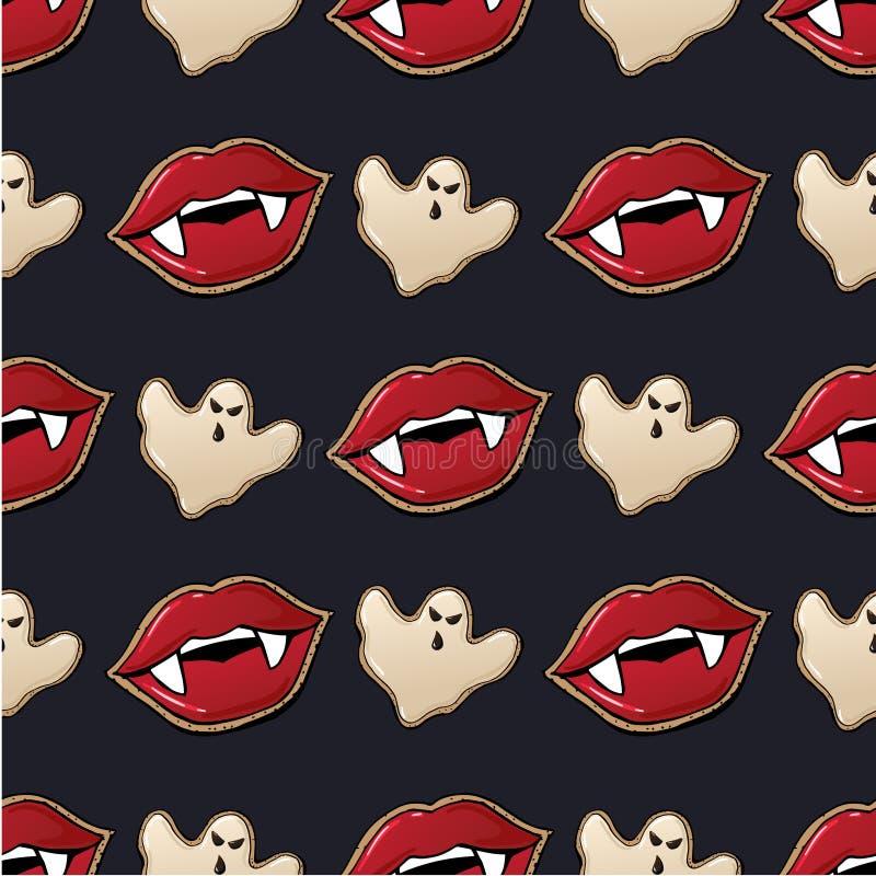 吸血鬼嘴唇可怕万圣夜背景无缝的传染媒介样式3 向量例证