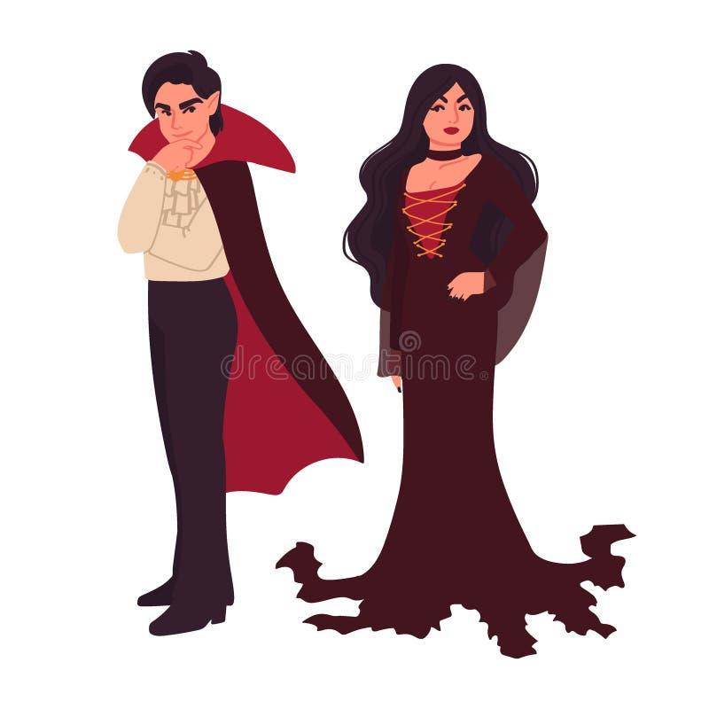 吸血鬼在白色背景和妇女隔绝的男人 万圣节字符 服装党 在动画片的传染媒介例证 库存例证