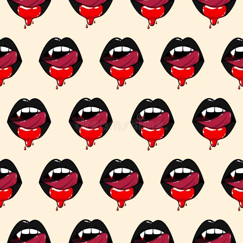 吸血鬼妇女嘴的样式 皇族释放例证