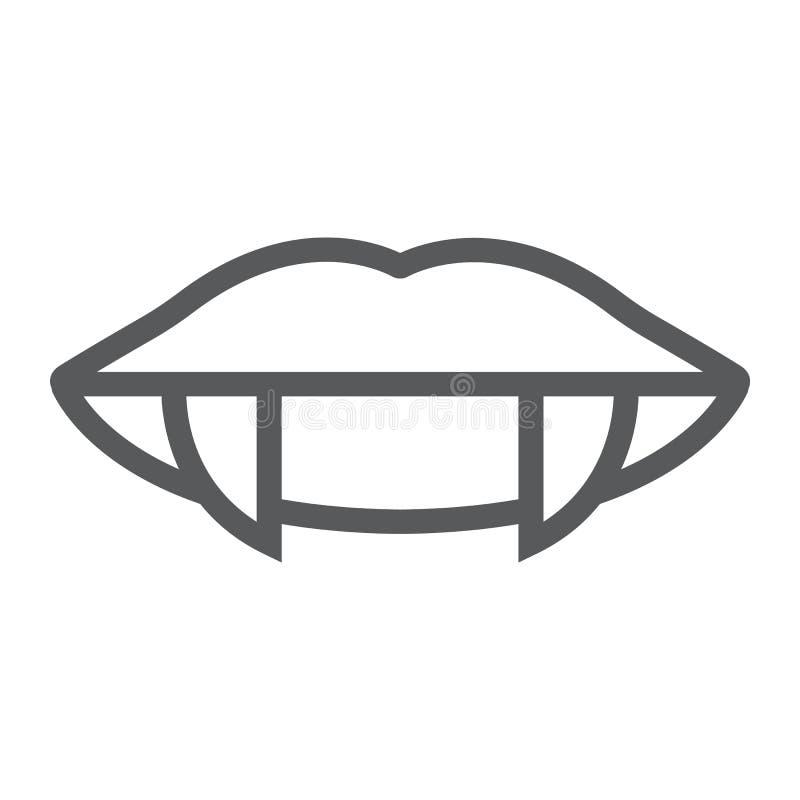 吸血鬼牙排行象,女性,并且嘴,嘴唇签署,向量图形,在白色背景的一个线性样式 库存例证