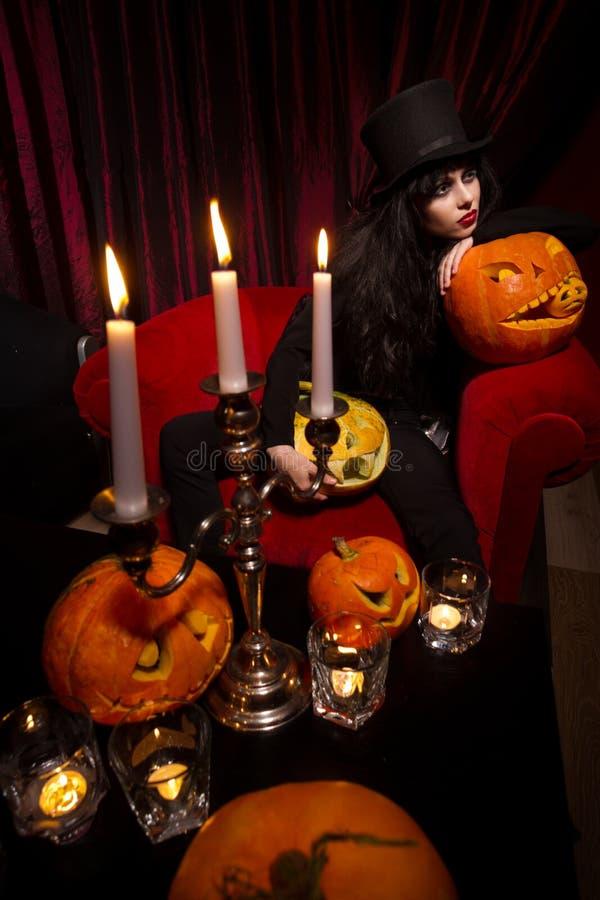 吸血鬼用万圣夜南瓜 免版税库存图片