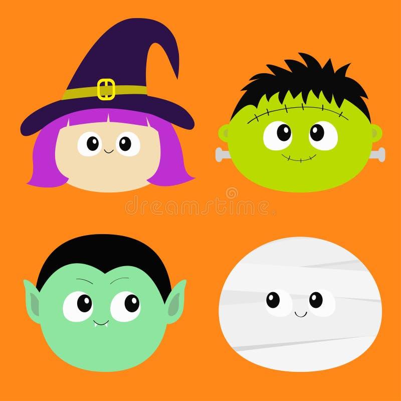 吸血鬼计数德雷库拉,妈咪, whitch帽子,蛇神圆的面孔头象集合 愉快的万圣节 逗人喜爱的动画片滑稽的鬼的婴孩charact 库存例证