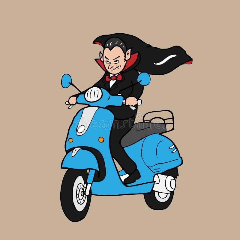 吸血鬼骑马滑行车 库存例证