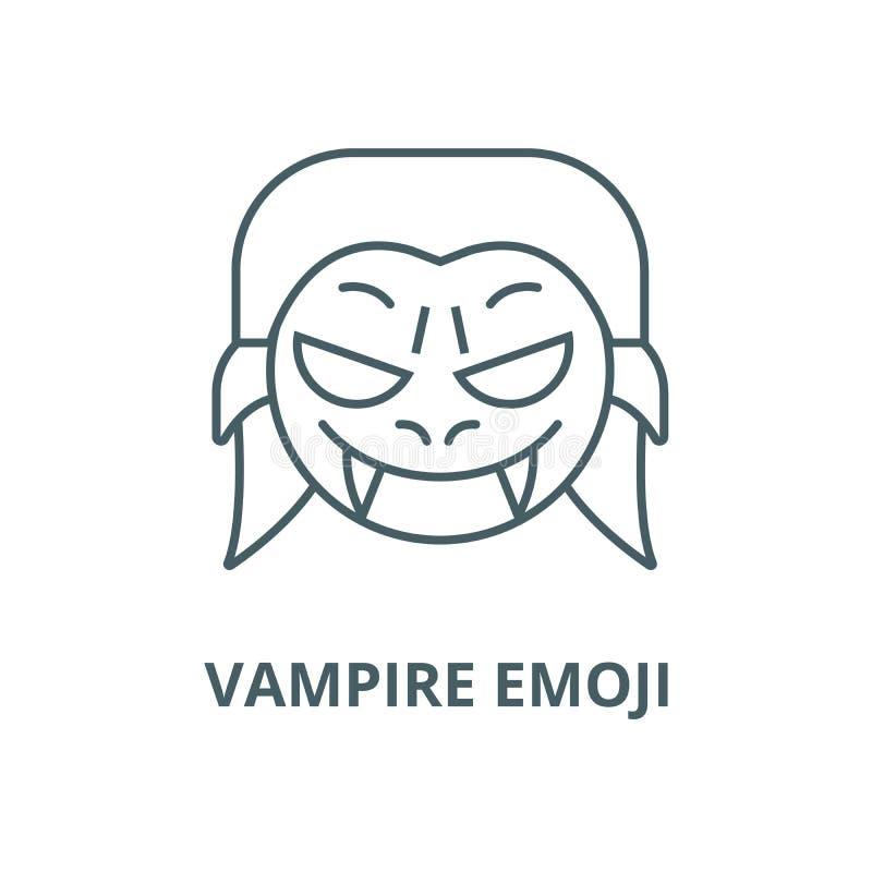 吸血鬼emoji传染媒介线象,线性概念,概述标志,标志 库存例证