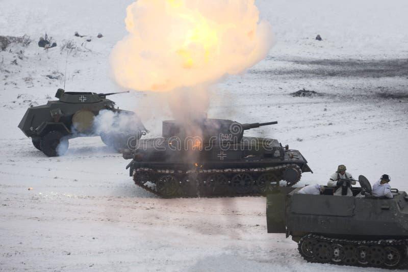 吹了德国iv pz wwii的重建坦克 库存照片