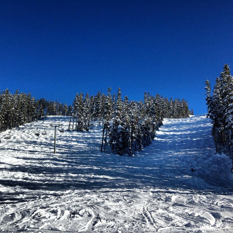 吹口哨Heli滑雪 库存照片