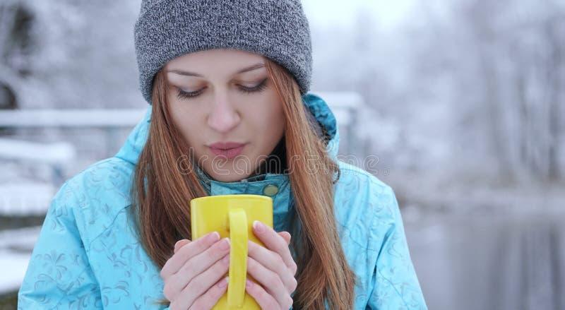吹在一份热的茶或咖啡的年轻美丽的女孩站立在冬天湖的岸 图库摄影