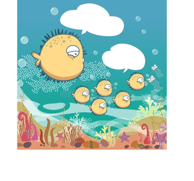 吹在海洋的设置逗人喜爱的家庭河豚 皇族释放例证