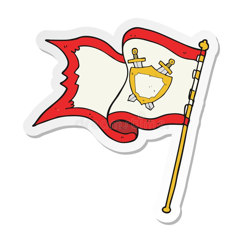 吹在风的动画片旗子的贴纸 库存例证