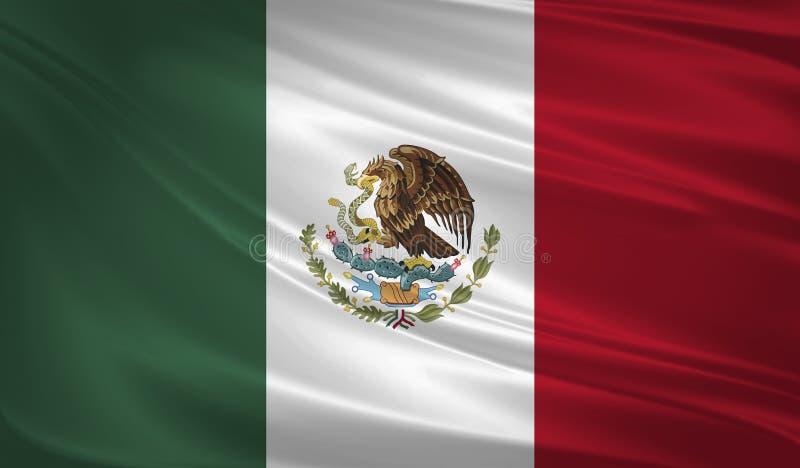 吹在风的墨西哥旗子 木背景详细资料老纹理的视窗 3d翻译,挥动的旗子 向量例证