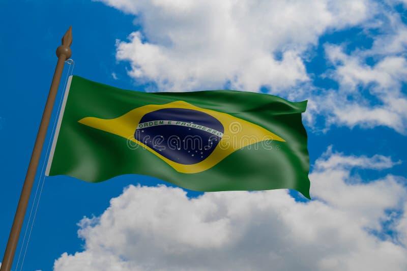 吹在风的巴西国旗 3d翻译,沙文主义情绪在天空蔚蓝 库存照片