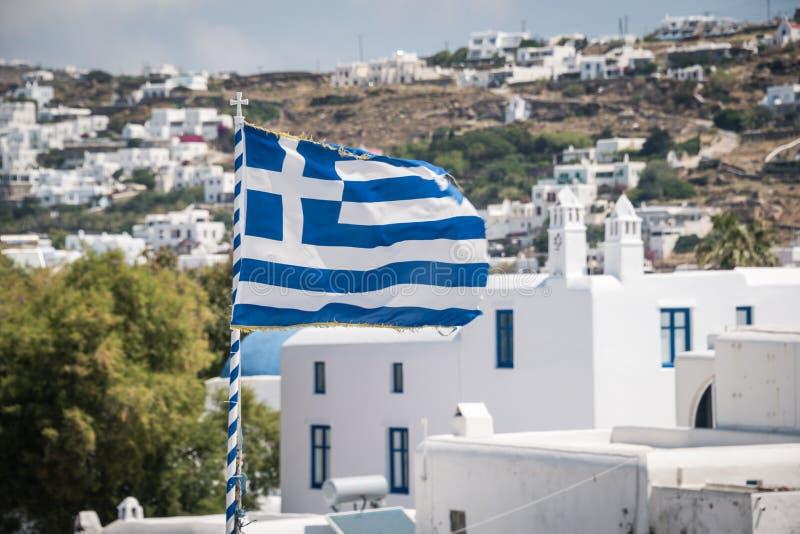吹在风的希腊旗子 图库摄影