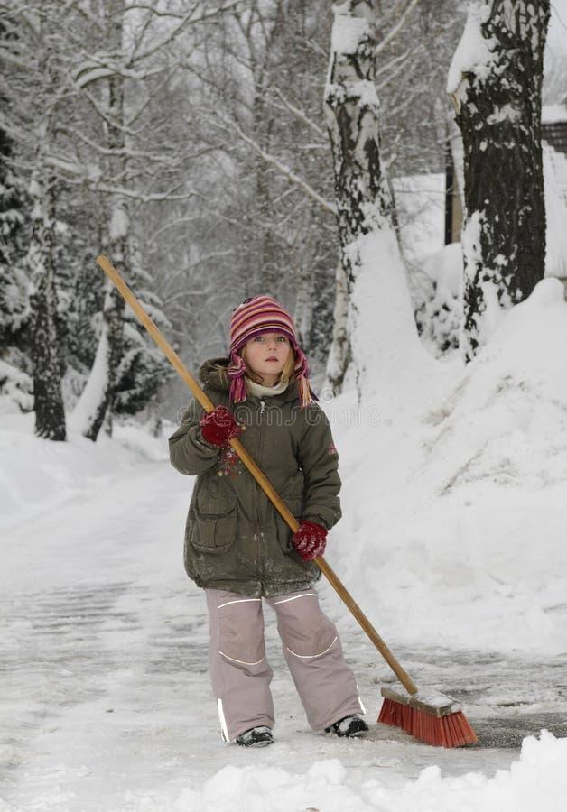 吹女孩少许雪 免版税库存图片