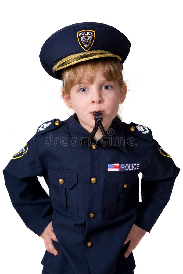 吹她的policegirl口哨 库存图片