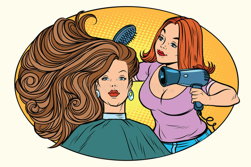 吹干的妇女头发理发师