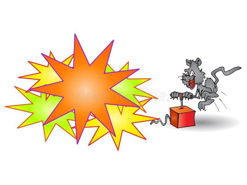 吹猫疯狂的炸药 向量例证