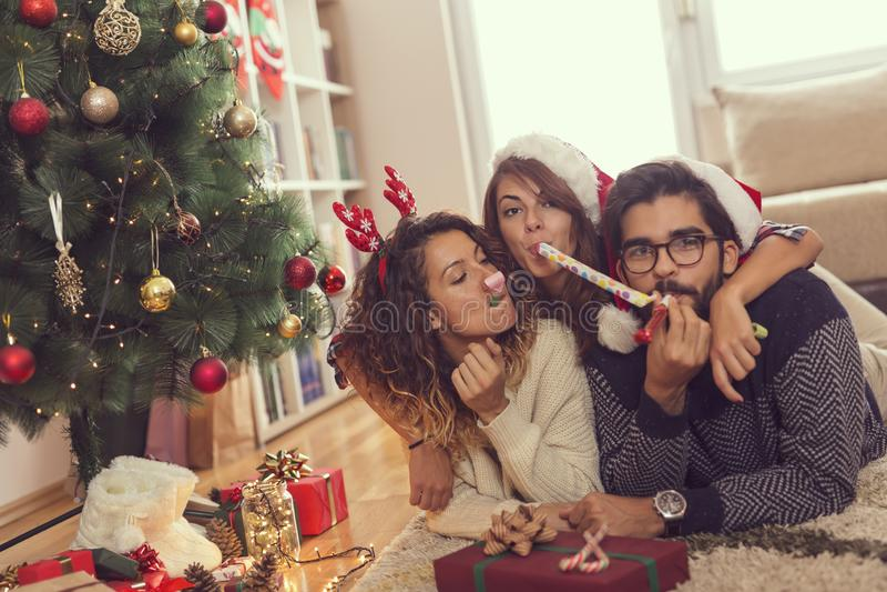 吹的党口哨在圣诞节 免版税库存照片