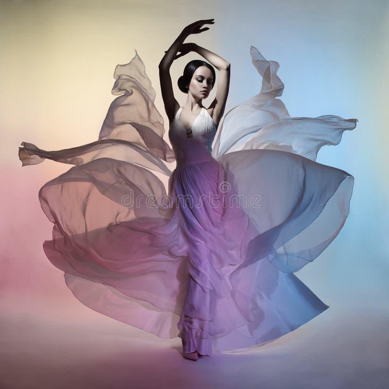 吹的礼服的美丽的端庄的妇女 免版税库存照片
