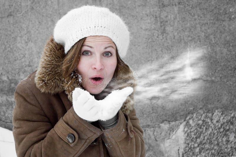 吹的雪妇女 免版税库存照片