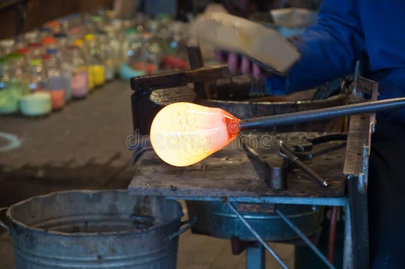 吹管玻璃热红色 库存图片