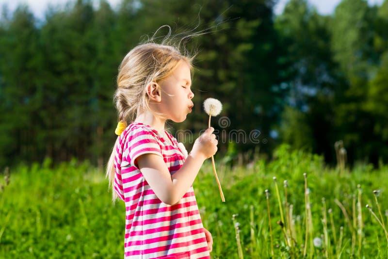 吹蒲公英和做愿望的逗人喜爱的白肤金发的小女孩 免版税图库摄影