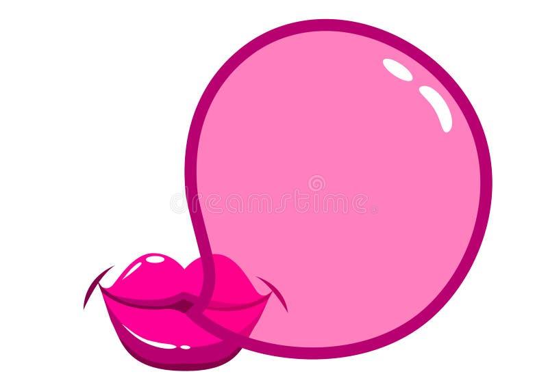 吹bubblegum泡影的嘴唇 向量例证
