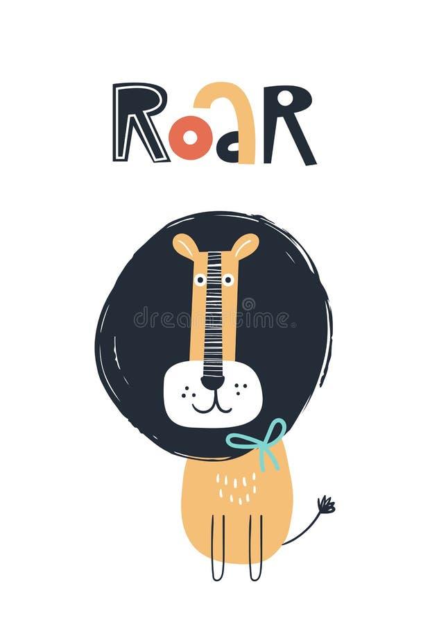 吼声-逗人喜爱的与狮子动物和字法的孩子手拉的托儿所海报 o 向量例证