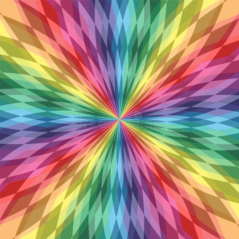 呈虹彩多角形线在中心相交 五颜六色的透明样式 彩虹几何抽象背景 库存例证
