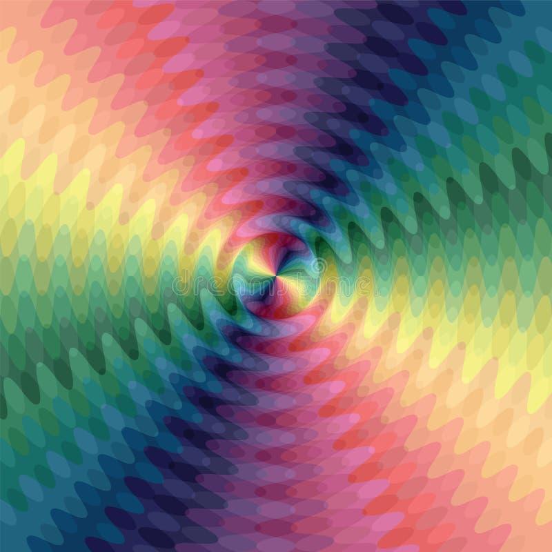呈虹彩波浪线在中心相交 运动视觉幻觉  库存例证