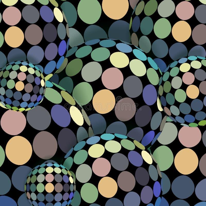 呈虹彩迪斯科球抽象3d图表 蓝绿色黄色全息图纹理 库存例证