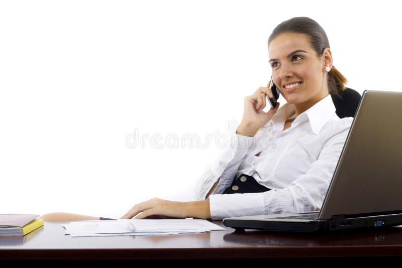 告诉愉快的电话妇女 免版税库存图片