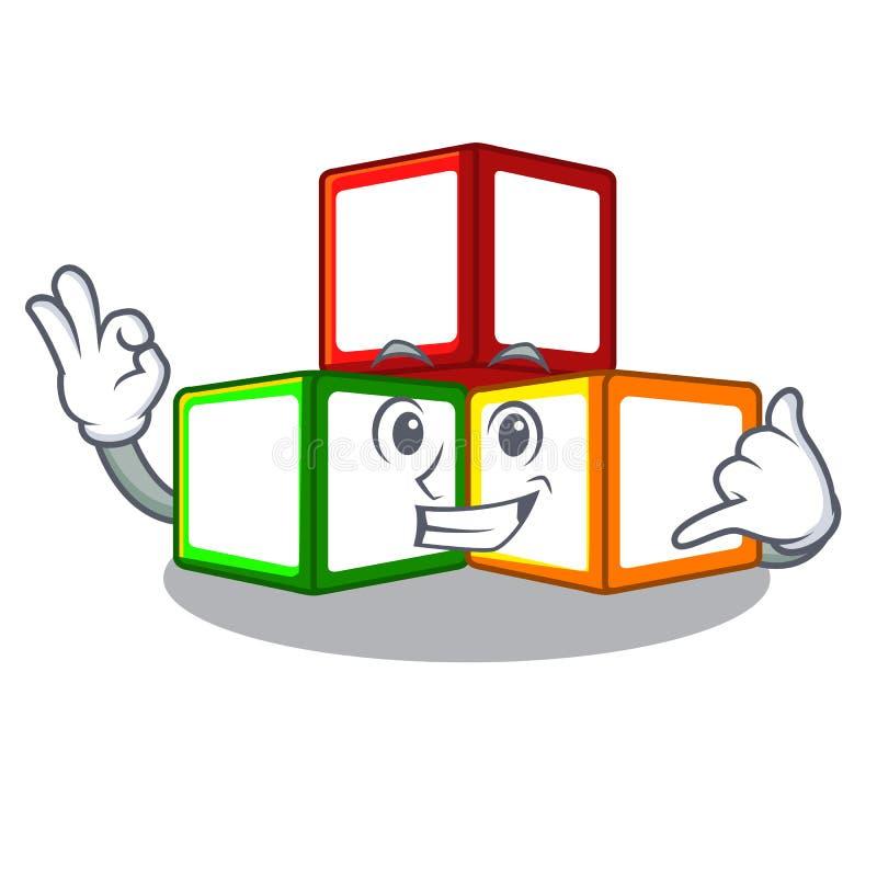 告诉我在立方体箱子吉祥人的玩具块 皇族释放例证