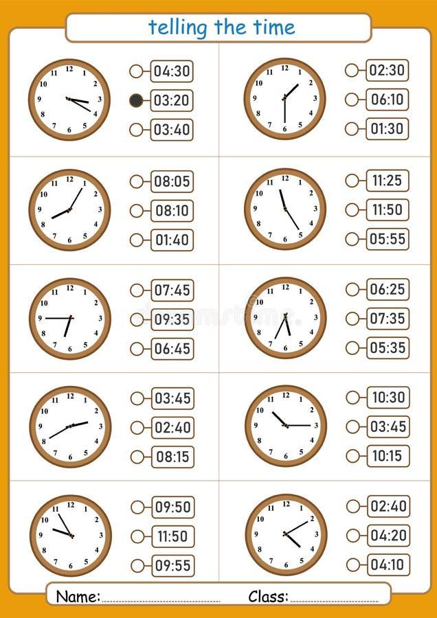 告诉时间,选择正确时间,孩子的活页练习题,何时是  库存例证