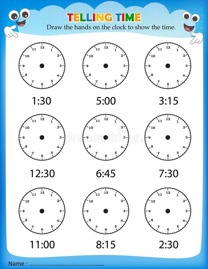 告诉时间活页练习题 皇族释放例证