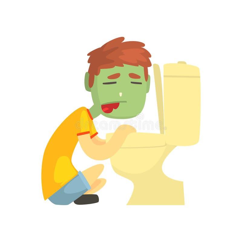 呕吐入马桶漫画人物传染媒介例证的病的男孩 向量例证