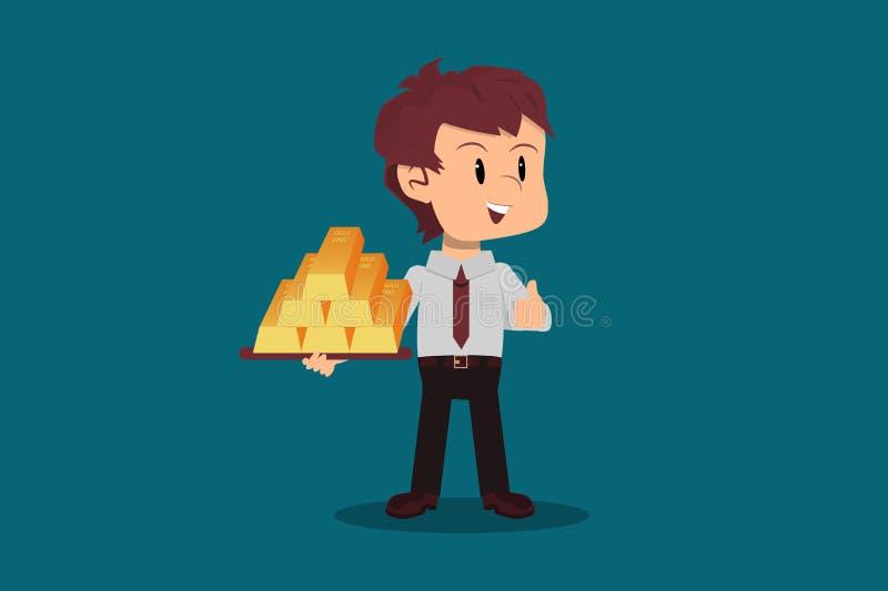 员工持有堆积如山的金条,这是长期投资的概念 库存例证