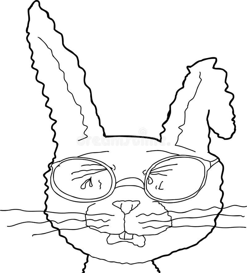 呜咽的兔子概述与玻璃的 库存例证