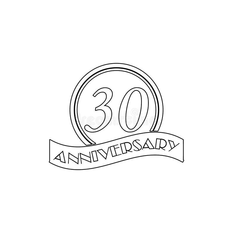 30周年标志 周年例证的元素 r E 库存例证