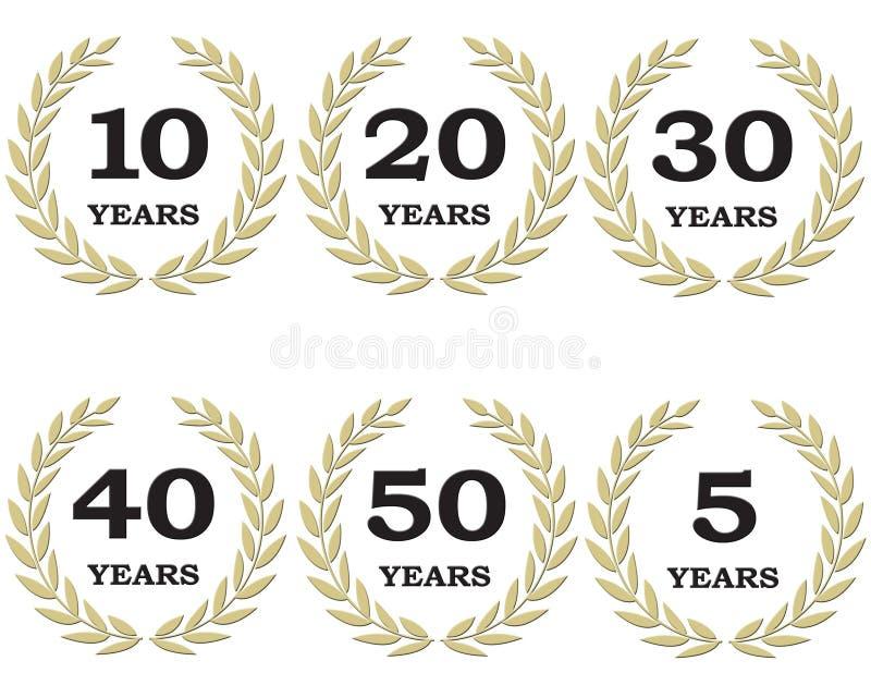 周年纪念月桂树花圈 向量例证