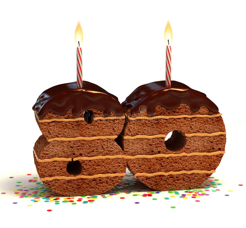 周年纪念第八十的生日蛋糕 向量例证