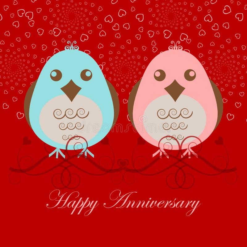 周年纪念鸟愉快的爱二 库存例证