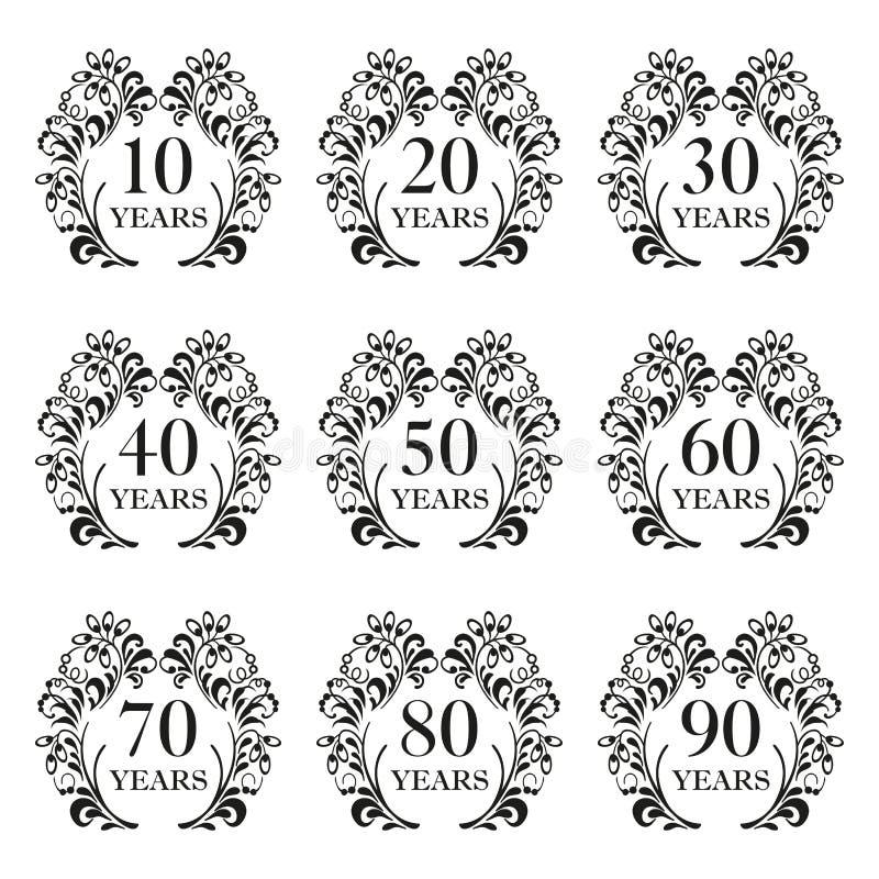 周年象集合 在华丽框架的周年标志与花卉元素 10,20,30,40,50,60,70,80,90年 汽车的模板 向量例证