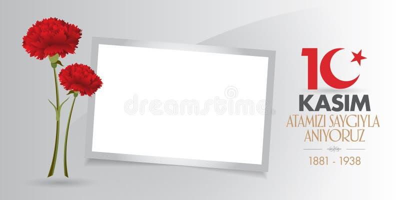 周年11月10日,穆斯塔法凯末尔阿塔图尔克死亡天 阵亡将士纪念日阿塔图尔克 广告牌设计 皇族释放例证
