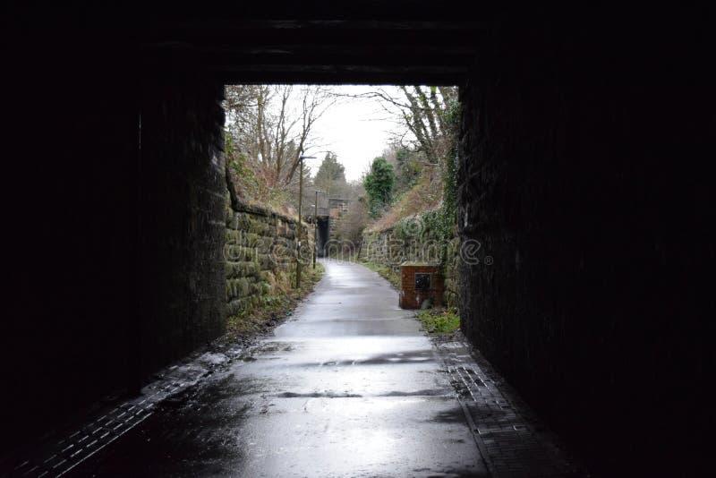 周期道路隧道在一湿天 免版税库存照片