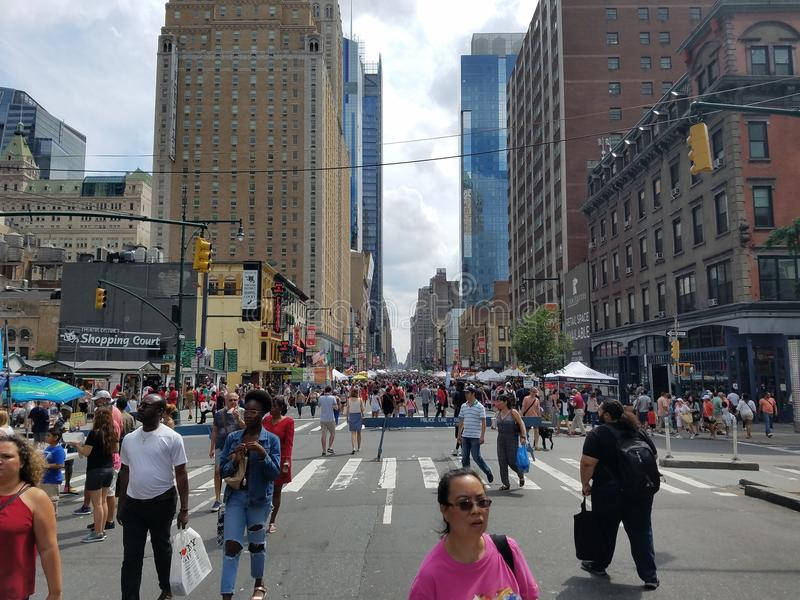 周末NYC街市 免版税库存照片