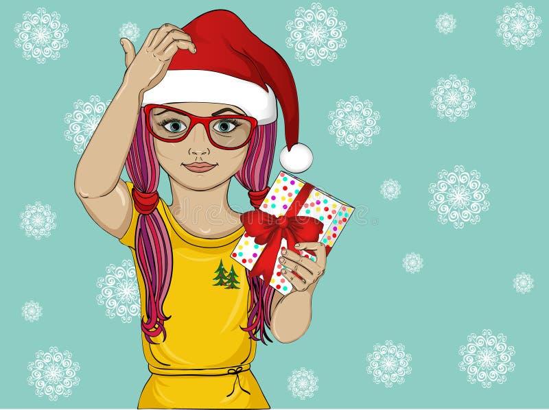 周道和拿着礼物的圣诞老人帽子的小女孩 为假日认为给一件礼物的孩子 向量 皇族释放例证