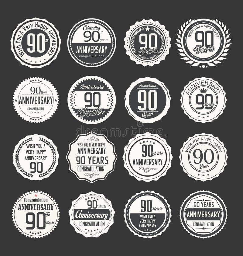 周年减速火箭的徽章收藏, 90年 库存例证