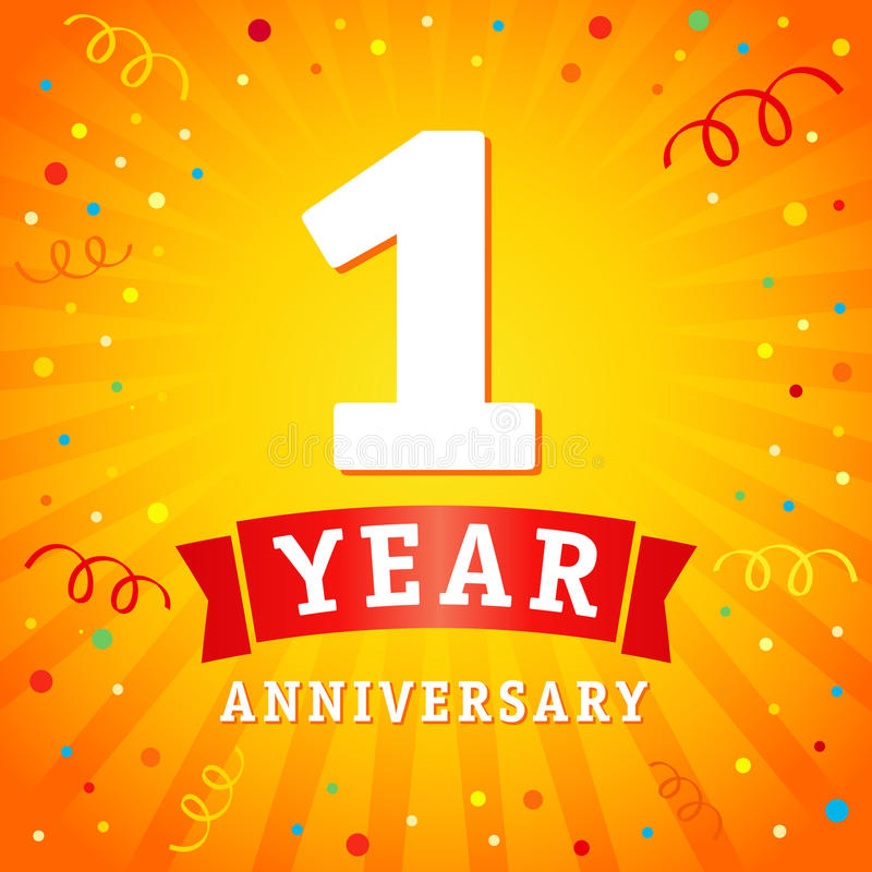 1年周年商标庆祝卡片 库存例证