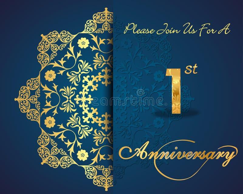 1年周年庆祝样式设计,第1周年 库存例证